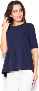 Niebieska bluzka LENITIF w stylu casual z krótkim rękawem