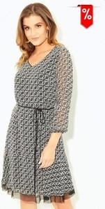 Sukienka Kaskada z szyfonu z długim rękawem w stylu casual