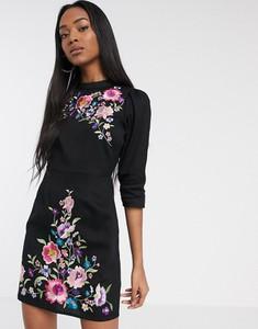 Czarna sukienka Asos mini z długim rękawem z golfem
