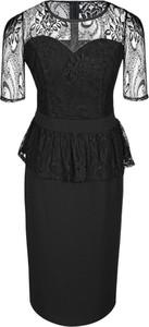 Czarna sukienka Fokus z okrągłym dekoltem z krótkim rękawem midi