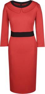 Czerwona sukienka Fokus w stylu klasycznym z długim rękawem z tkaniny