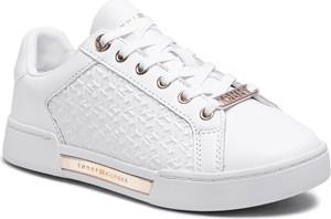 Buty sportowe Tommy Hilfiger ze skóry ekologicznej z płaską podeszwą