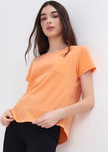 Pomarańczowy t-shirt Sinsay z okrągłym dekoltem z krótkim rękawem w stylu casual
