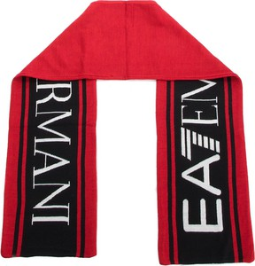 Czerwony szalik EA7 Emporio Armani z wełny