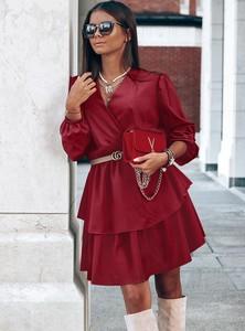 Czerwona sukienka Pakuten mini z długim rękawem
