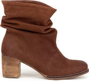 Brązowe botki Zapato na słupku ze skóry