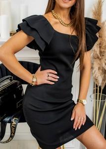 Czarna sukienka Fason z krótkim rękawem z okrągłym dekoltem mini