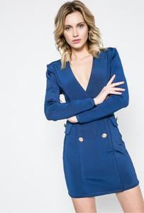 Niebieska sukienka Missguided dopasowana mini z długim rękawem