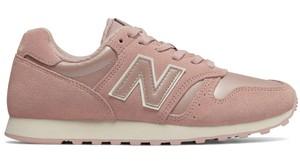 Różowe buty sportowe New Balance z zamszu z płaską podeszwą sznurowane