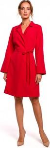 Czerwona sukienka MOE z dekoltem w kształcie litery v