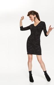 Czarna sukienka Top Secret z dzianiny z odkrytymi ramionami w stylu casual