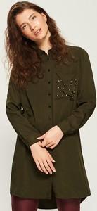 Zielona sukienka Sinsay koszulowa z kołnierzykiem w stylu casual