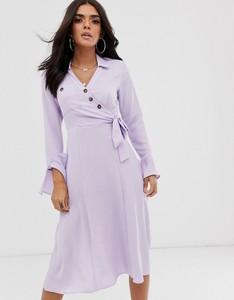 Fioletowa sukienka Asos Design koszulowa z długim rękawem z dekoltem w kształcie litery v