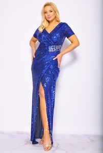 Niebieska sukienka Sukienki M&M z krótkim rękawem z dekoltem w kształcie litery v
