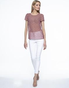 Różowa bluzka L'AF z krótkim rękawem z tkaniny