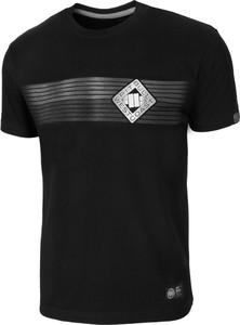 Czarny t-shirt Pit Bull z krótkim rękawem w stylu casual