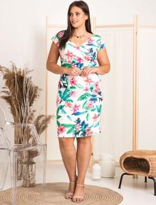 Sukienka KARKO z dekoltem w kształcie litery v z krótkim rękawem