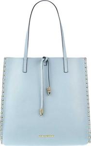 Niebieska torebka Prima Moda ze skóry matowa na ramię