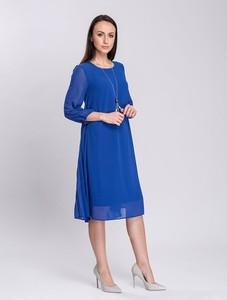 Niebieska sukienka Semper z okrągłym dekoltem z tkaniny midi