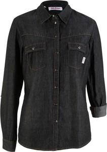 Granatowa bluzka bonprix John Baner JEANSWEAR z długim rękawem z kołnierzykiem