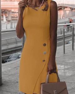 Żółta sukienka Kendallme z okrągłym dekoltem mini z długim rękawem