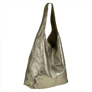 64e6d7c2362aa Real leather torebka worek skórzana shopper stare złoto