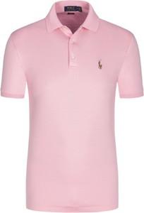 Różowa koszulka polo POLO RALPH LAUREN z dżerseju z krótkim rękawem