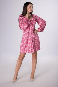 Sukienka Ptakmoda.com z satyny z dekoltem w kształcie litery v mini