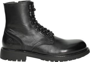 Czarne buty zimowe Big Star w stylu casual na zamek ze skóry