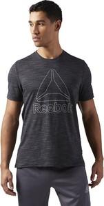 Czarny t-shirt Reebok z dzianiny