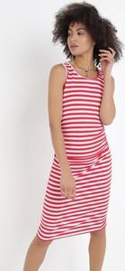 Czerwona sukienka born2be z okrągłym dekoltem bez rękawów w stylu casual