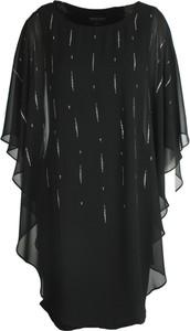 Czarna sukienka Frank Lyman mini z szyfonu z długim rękawem