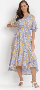 Fioletowa sukienka born2be trapezowa z dekoltem w kształcie litery v