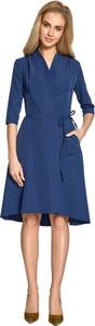 Niebieska sukienka Style z długim rękawem