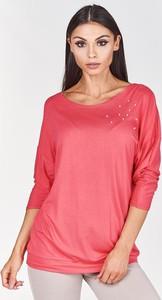 Różowa bluzka Fokus z okrągłym dekoltem z długim rękawem