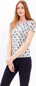 T-shirt Gate w stylu casual z okrągłym dekoltem z krótkim rękawem