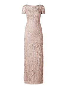 Brązowa sukienka Niente z krótkim rękawem z okrągłym dekoltem maxi