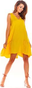 Sukienka Awama z dekoltem w kształcie litery v w stylu casual mini