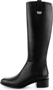 Czarne kozaki Prima Moda przed kolano w stylu casual na zamek