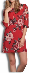 Czerwona sukienka Abercrombie&fitch z długim rękawem mini w stylu casual