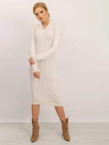 Sukienka Sheandher.pl z dzianiny z dekoltem w kształcie litery v z długim rękawem