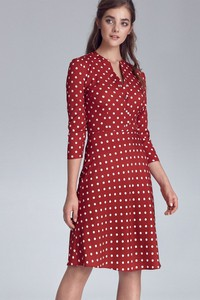Sukienka Merg z długim rękawem midi z dekoltem w kształcie litery v