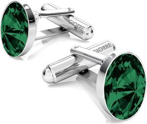 GIORRE Srebrne spinki do mankietu z owalnym kryształem swarovskiego 925 : Kolor kryształu SWAROVSKI - Emerald, Kolor pokrycia srebra - Pokrycie Jasnym Rodem