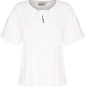 T-shirt Deha z krótkim rękawem z bawełny z dekoltem typu choker