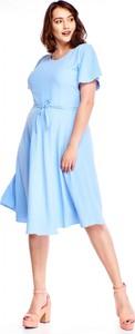 Sukienka Gratex z krótkim rękawem rozkloszowana
