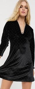 Czarna sukienka Asos Design z długim rękawem z dekoltem w kształcie litery v