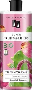 AA, Super Fruits & Herbs, żel do mycia ciała nawilżająco-odżywczy, Opuncja i Amarantus, 500 ml