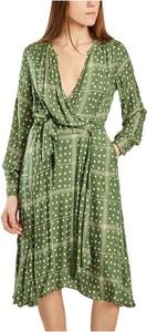 Zielona sukienka Diega mini z dekoltem w kształcie litery v z długim rękawem