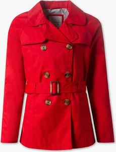 Czerwony płaszcz Here And There z bawełny w stylu casual