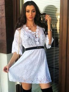 Sukienka Smlfashion.pl z dekoltem w kształcie litery v z długim rękawem z bawełny